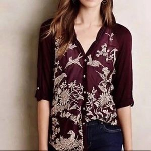 Anthropologie Purple Embroidered Shirt
